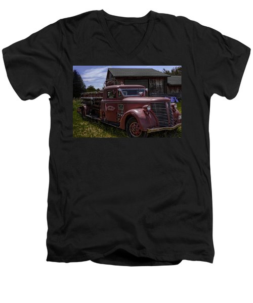 1939 American Lafrance Foamite Men's V-Neck T-Shirt by Tom Gort