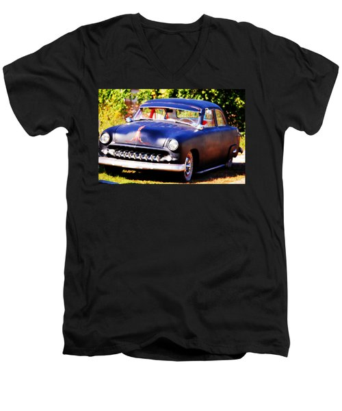 Men's V-Neck T-Shirt featuring the photograph 1950 Ford  Vintage by Peggy Franz