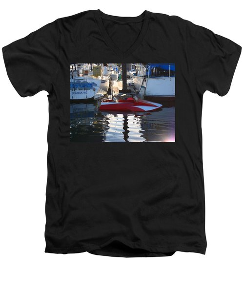 Men's V-Neck T-Shirt featuring the photograph 1950's Custom Hydroplane by Kym Backland