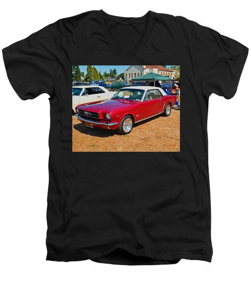 1964 Ford Mustang Men's V-Neck T-Shirt by Tikvah's Hope
