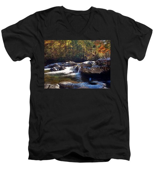 Men's V-Neck T-Shirt featuring the photograph Great Smoky Mountains by Janice Spivey