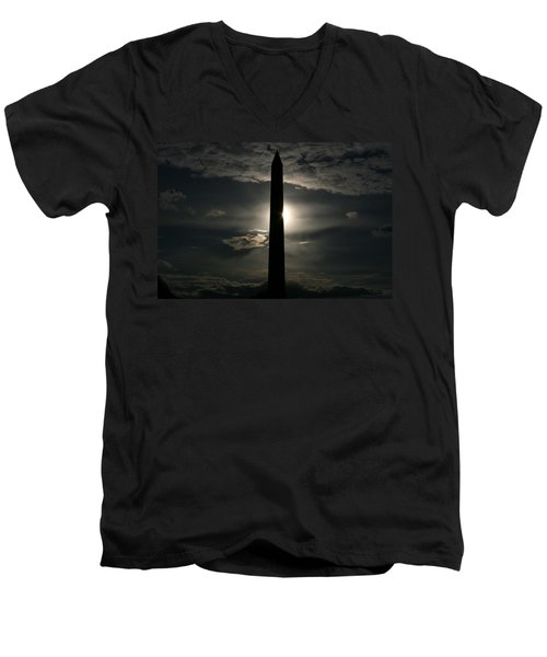 Men's V-Neck T-Shirt featuring the photograph Washington Monument by Stacy C Bottoms