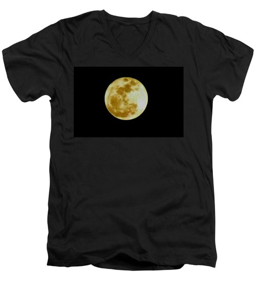 Men's V-Neck T-Shirt featuring the photograph 2011 Full Moon by Maria Urso