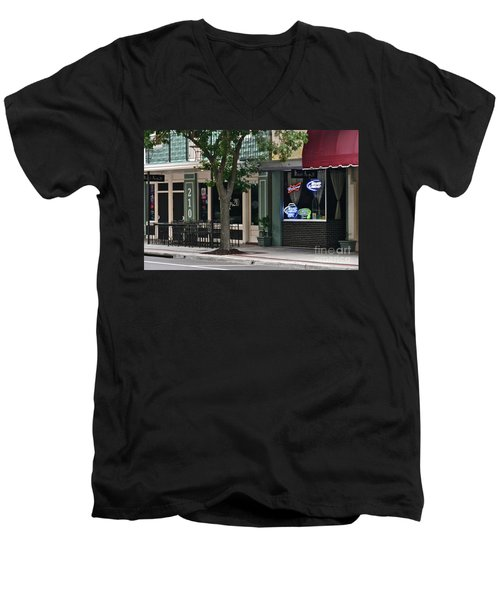 210 Pine Street Men's V-Neck T-Shirt by Carol  Bradley