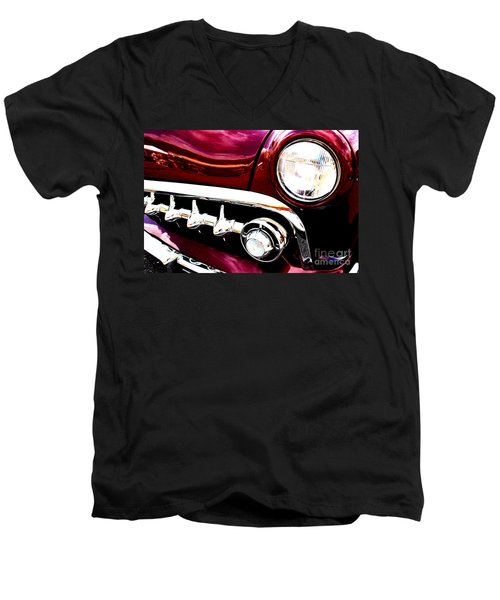 Men's V-Neck T-Shirt featuring the digital art 49 Ford by Tony Cooper