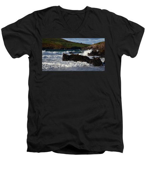 Men's V-Neck T-Shirt featuring the photograph Beenbane Beach by Barbara Walsh