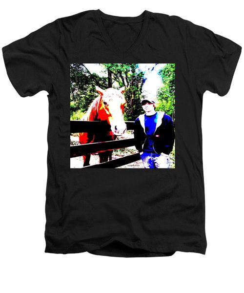 Men's V-Neck T-Shirt featuring the photograph a Boy and his Horse by George Pedro
