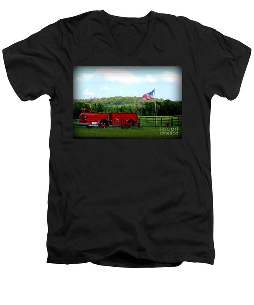 Men's V-Neck T-Shirt featuring the photograph A Tribute To The Fireman by Kathy  White