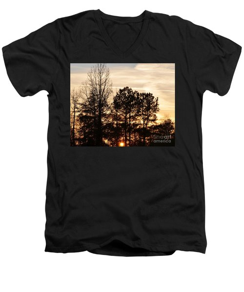 Men's V-Neck T-Shirt featuring the photograph A Winter's Eve by Maria Urso