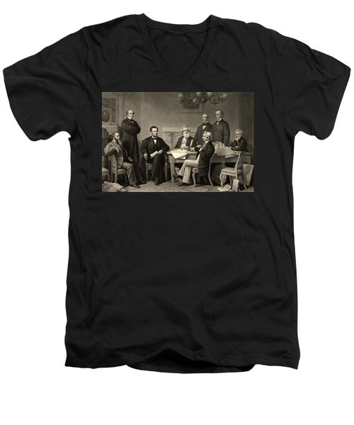 Men's V-Neck T-Shirt featuring the photograph Abraham Lincoln At The First Reading Of The Emancipation Proclamation - July 22 1862 by International  Images