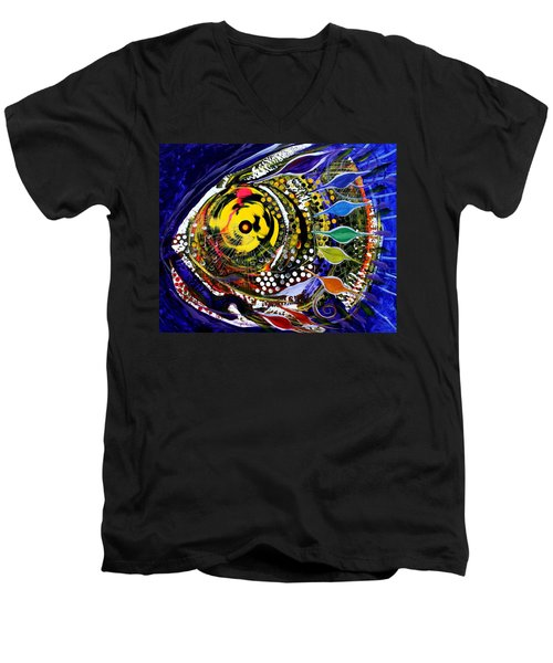 Abstract Busy Bee Fish Men's V-Neck T-Shirt