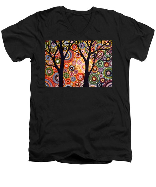Men's V-Neck T-Shirt featuring the painting Abstract Modern Tree Landscape Distant Worlds By Amy Giacomelli by Amy Giacomelli