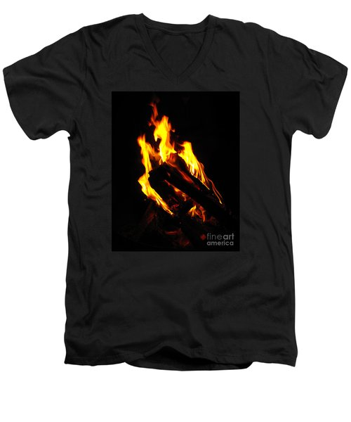 Men's V-Neck T-Shirt featuring the photograph Abstract Phoenix Fire by Rebecca Margraf