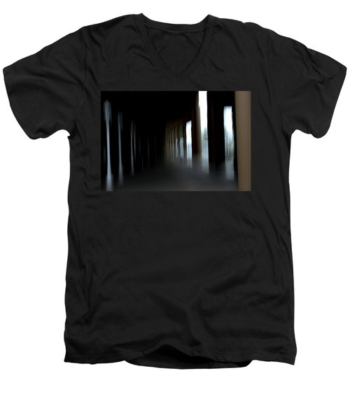 Men's V-Neck T-Shirt featuring the mixed media Abyss by Terence Morrissey
