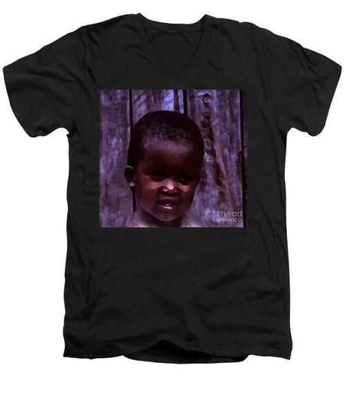 Men's V-Neck T-Shirt featuring the pyrography African Little Girl by Lydia Holly