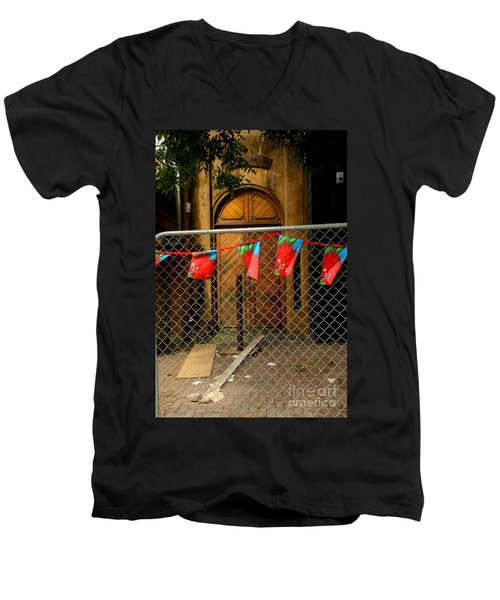 Men's V-Neck T-Shirt featuring the photograph After The Quakes - No Go Zone by Nareeta Martin