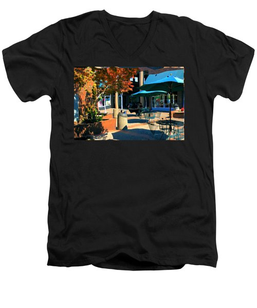 Men's V-Neck T-Shirt featuring the mixed media Alice's Wonderland Cafe by Terence Morrissey