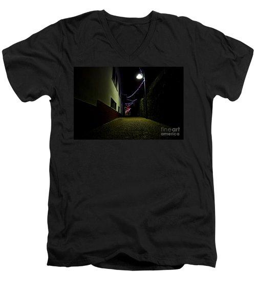 Alley With Lights Men's V-Neck T-Shirt