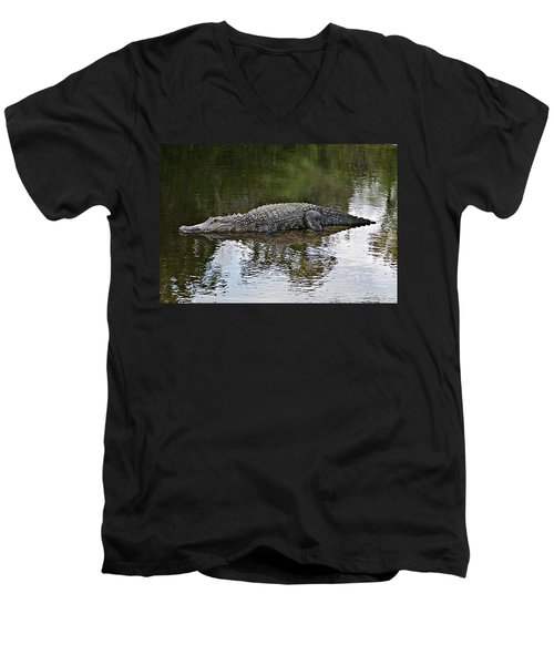 Alligator 1 Men's V-Neck T-Shirt by Joe Faherty