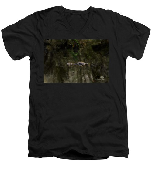 Men's V-Neck T-Shirt featuring the photograph Alligator In Swamp by Dan Friend