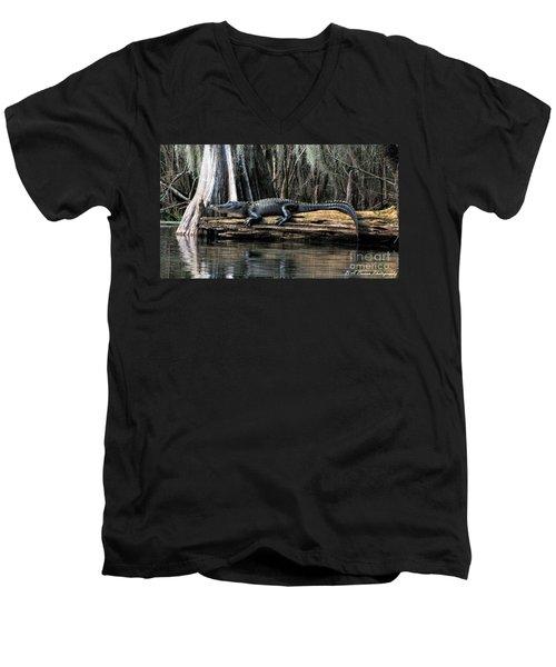 Alligator Sunning Men's V-Neck T-Shirt