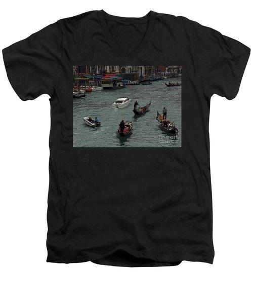 Along The Canal Men's V-Neck T-Shirt by Vivian Christopher