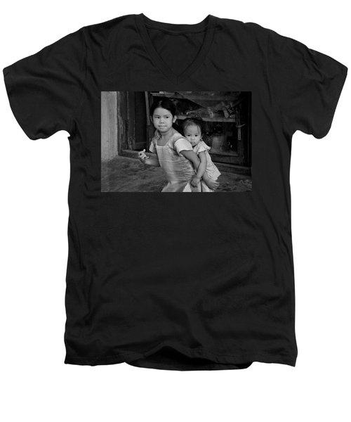 Always Together Men's V-Neck T-Shirt by Valerie Rosen