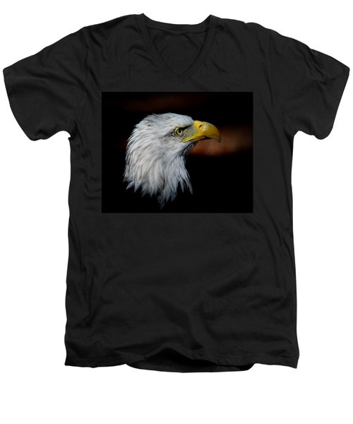 Men's V-Neck T-Shirt featuring the photograph American Bald Eagle by Steve McKinzie