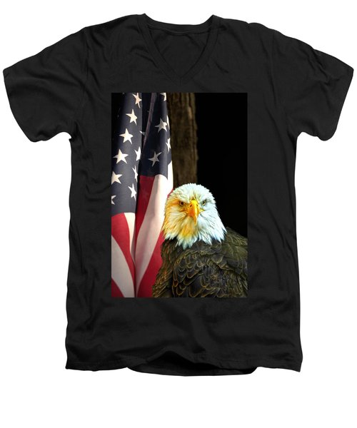 Men's V-Neck T-Shirt featuring the photograph American Eagle And American Flag by Randall Branham