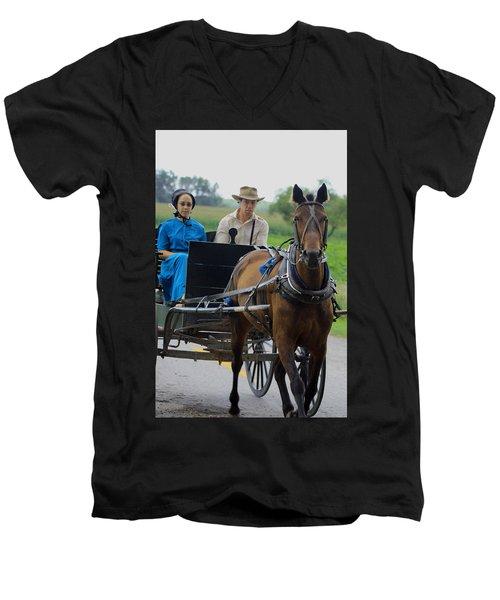Amish Buggy Ride Men's V-Neck T-Shirt