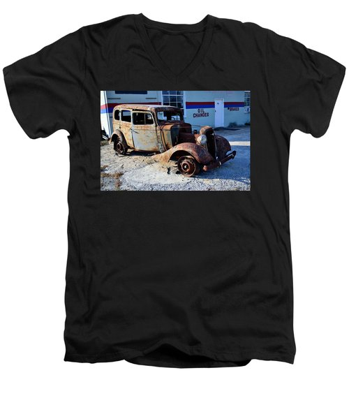 Men's V-Neck T-Shirt featuring the photograph ...and Rotate The Tires by Larry Bishop