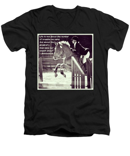 Andy And Chrissy Caber Farm Horse Men's V-Neck T-Shirt by Anna Porter