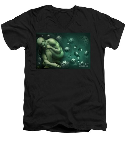 Men's V-Neck T-Shirt featuring the digital art Animus Breathing Viriditas by Rosa Cobos