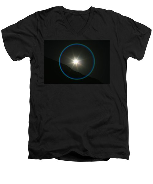 Men's V-Neck T-Shirt featuring the photograph Annular Solar Eclipse - Blue Ring At Vasquez Rocks by Lon Casler Bixby