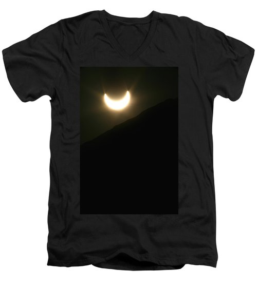 Men's V-Neck T-Shirt featuring the photograph Annular Solar Eclipse At Sunset Number 1 by Lon Casler Bixby