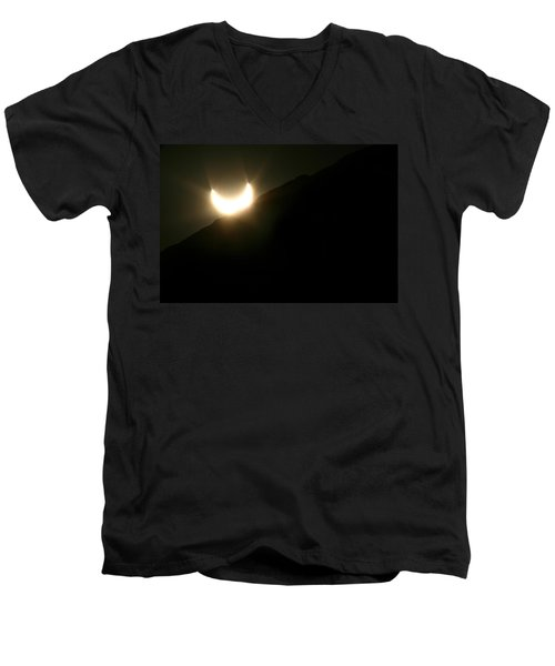 Men's V-Neck T-Shirt featuring the photograph Annular Solar Eclipse At Sunset Number 2 by Lon Casler Bixby