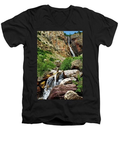 Apikuni Falls Men's V-Neck T-Shirt by Greg Norrell