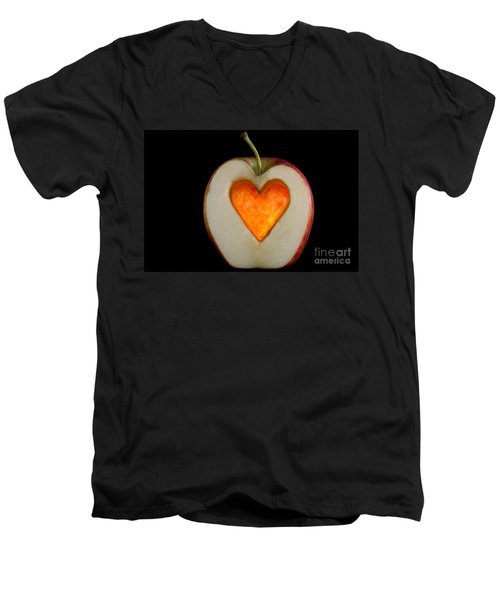 Apple With A Heart Men's V-Neck T-Shirt