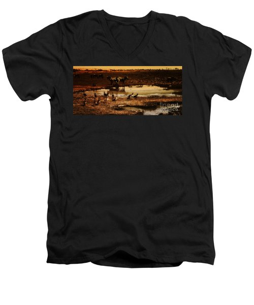 Men's V-Neck T-Shirt featuring the photograph Around The Pond by Lydia Holly