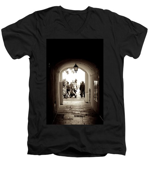 At The End Of The Tunnel Men's V-Neck T-Shirt