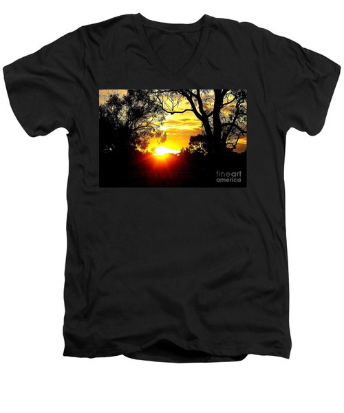 Men's V-Neck T-Shirt featuring the photograph Aussie Sunset by Blair Stuart