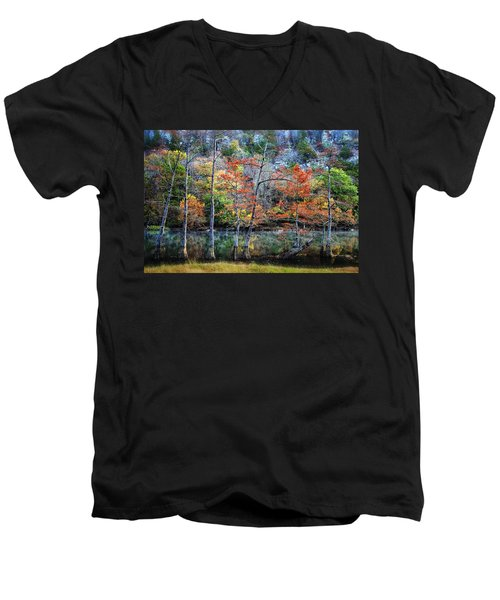 Men's V-Neck T-Shirt featuring the photograph Autumn At Beaver's Bend by Tamyra Ayles