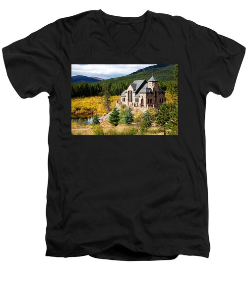 Men's V-Neck T-Shirt featuring the photograph Autumn At St. Malo  by Jim Garrison