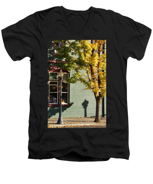 Men's V-Neck T-Shirt featuring the photograph Autumn Detail In Old Town Grants Pass by Mick Anderson