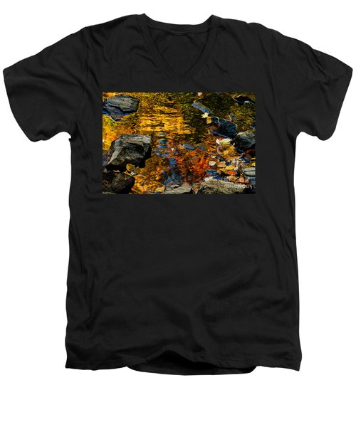 Men's V-Neck T-Shirt featuring the photograph Autumn Reflections by Cheryl Baxter