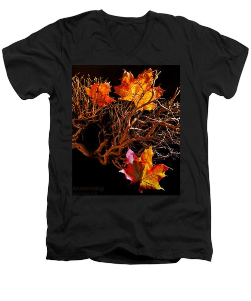 Men's V-Neck T-Shirt featuring the photograph Autumnal Feelings by Beverly Cash