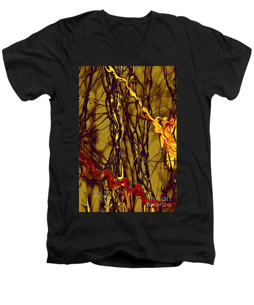 Shapes Of Fire Men's V-Neck T-Shirt by Leo Symon