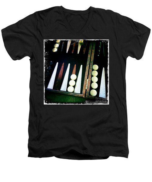 Men's V-Neck T-Shirt featuring the photograph Backgammon Anyone by Nina Prommer