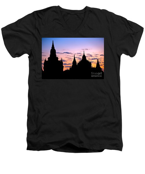 Men's V-Neck T-Shirt featuring the photograph Bagan by Luciano Mortula