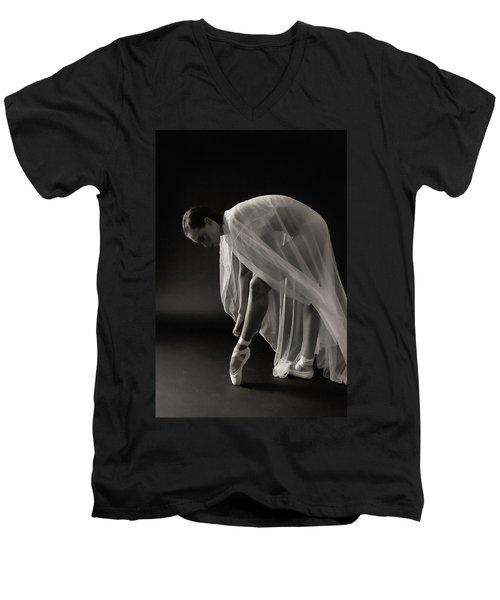 Ballerina Men's V-Neck T-Shirt by Hugh Smith